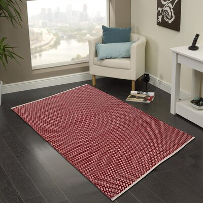 Hand-Woven Red Area Rug Rug Size: 3 x 5