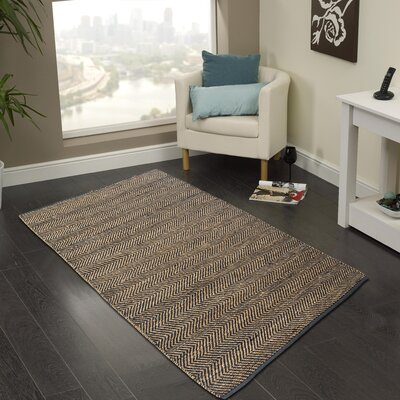 Hand-Woven Dark Gray Area Rug Rug Size: 5 x 8