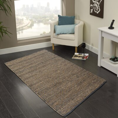 Hand-Woven Dark Gray Area Rug Rug Size: 2 x 3