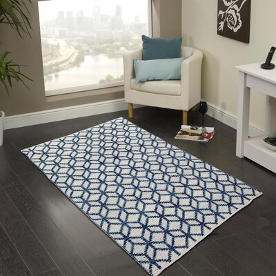 Hand-Woven Bristol Blue Area Rug Rug Size: 5 x 8
