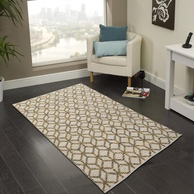 Hand-Woven Yellow/Gray Area Rug Rug Size: 2 x 3
