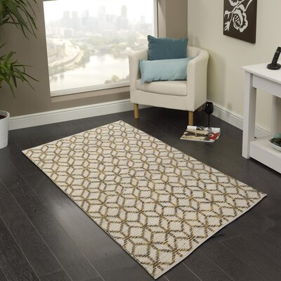 Hand-Woven Yellow/Gray Area Rug Rug Size: 5 x 8