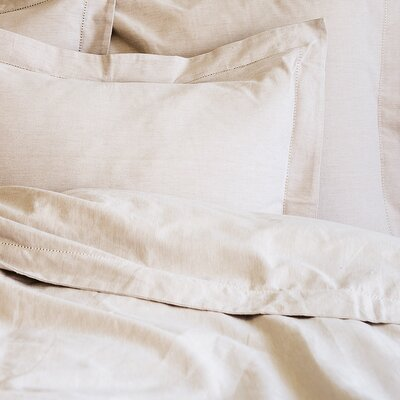 Hemstitch Duvet Cover Size: Queen, Color: Natural