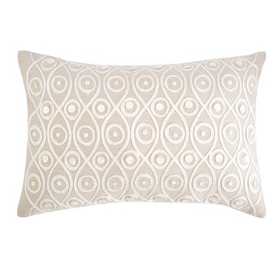Button Crewel Cotton Lumbar Pillow
