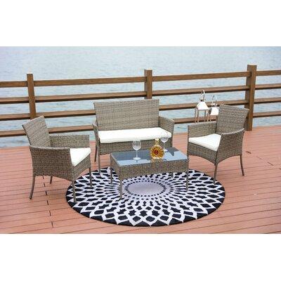 Sachem Wicker 4 Piece Lounge Sofa Seating Group with Cushion