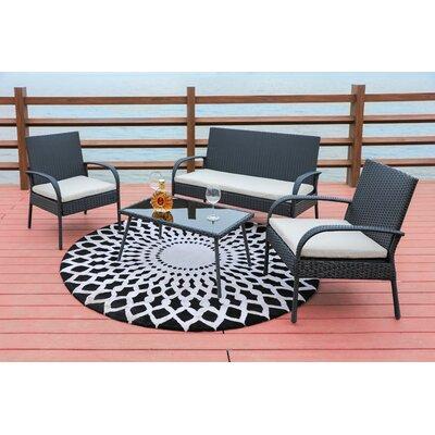 Sachem Wicker 4 Piece Sofa Seating Group with Cushion