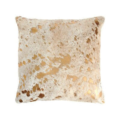 Silver Metallic Cowhide Throw Pillow Color: Gold Metallic