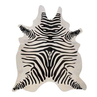 Stenciled Brazilian Cowhide Zebra Black/Off-White Area Rug