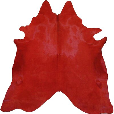 Dyed Hand Woven Cowhide Red Area Rug