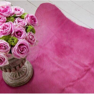 Dyed Brazilian Cowhide Pink Area Rug