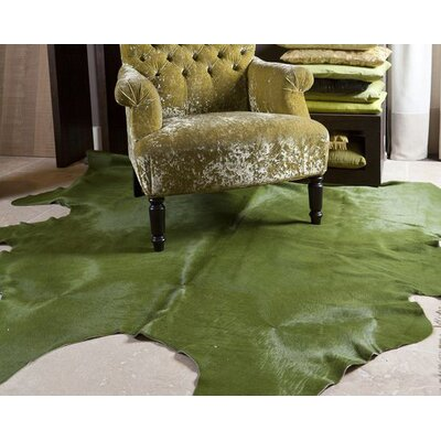 Dyed Brazilian Cowhide Green Area Rug