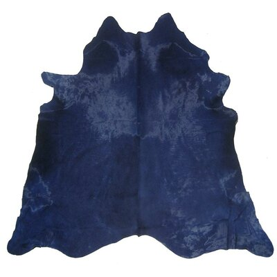 Dyed Brazilian Cowhide Navy Blue Area Rug