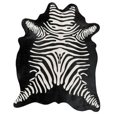Stenciled Brazilian Cowhide Zebra Reverse Black/White Area Rug