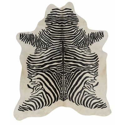 Stenciled Brazilian Cowhide Zebra with Spine Black/White Area Rug