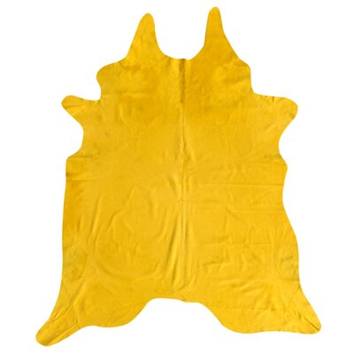 Dyed Brazilian Cowhide Yellow Area Rug