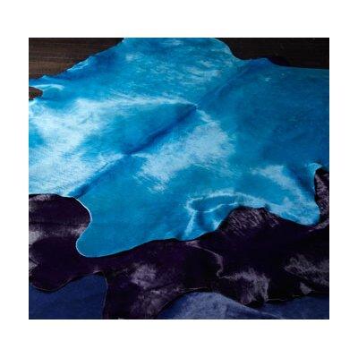 Dyed Brazilian Cowhide Turquoise Area Rug