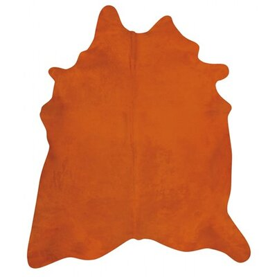 Dyed Brazilian Cowhide Orange Area Rug