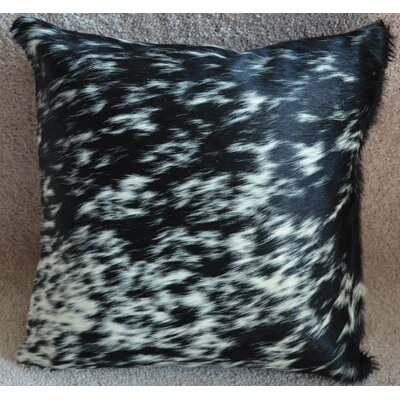 Black Salt and Pepper Cowhide Throw Pillow