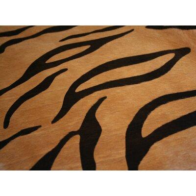 Stenciled Brazilian Cowhide Tiger Cowhide Area Rug