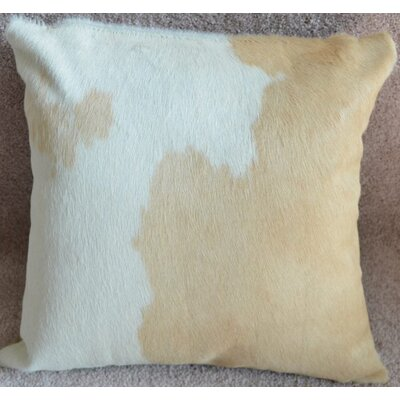 Cowhide Throw Pillow Color: Beige/White