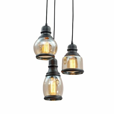 Glass Jar 3-Light Pendant Light