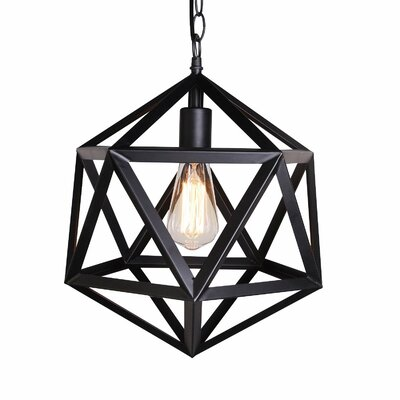 Metal Cage 1-Light Mini Pendant Finish: Black