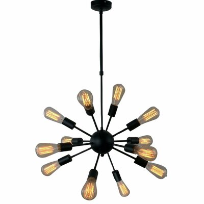 Vintage Metal Hanging Ceiling 12-Light Sputnik Chandelier Finish: Black