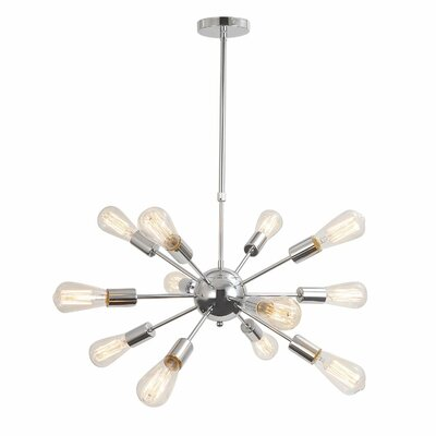 Vintage Metal Hanging Ceiling 12-Light Sputnik Chandelier Finish: Chrome