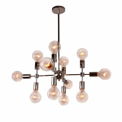 Modern Metal Geometric 12-Light Sputnik Chandelier