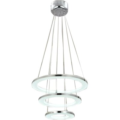 Acrylic Modern 3-Light LED Cascade Pendant Finish: White