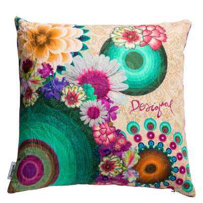 Happy Blossom Cotton Throw Pillow