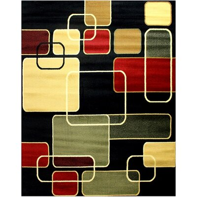 Super Mega Black/Yellow Area Rug Rug Size: 5'3'' x 7'3''