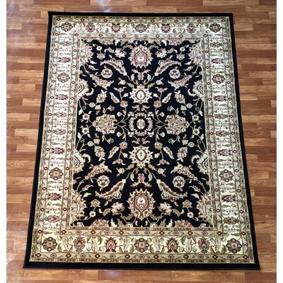 Elif/Passion Black Area Rug Rug Size: 53 x 73