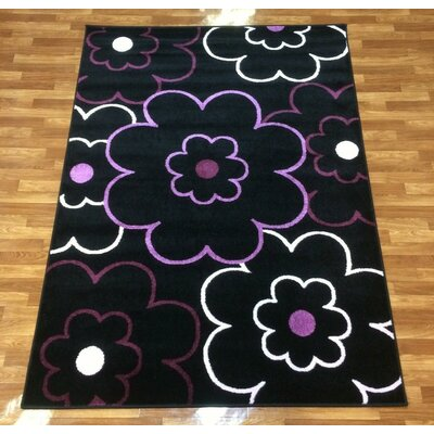 Istanbul Black Area Rug Rug Size: 53 x 75