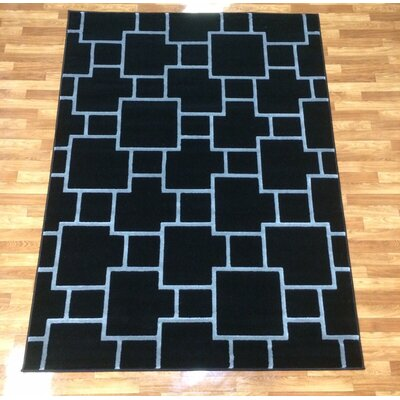 Liza Black Area Rug Rug Size: 53 x 73