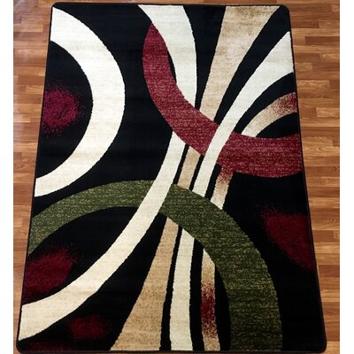 Super Mega Black/White Area Rug Rug Size: 7'10'' x 9'10''