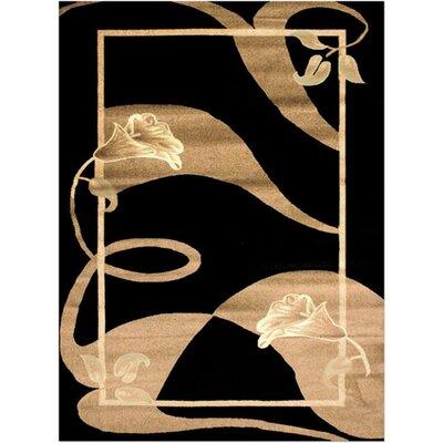 Elif/Passion Black Area Rug Rug Size: 53 x 73