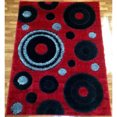 Gloria Red Area Rug Rug Size: 53 x 73