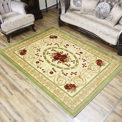 Elif/Passion Green Area Rug Rug Size: 53 x 73