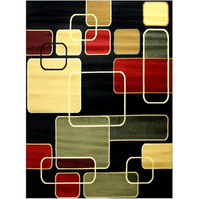 Super Mega Black/Yellow Area Rug Rug Size: 53 x 73