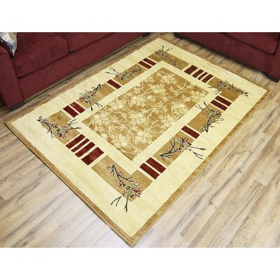 Elif/Passion Gold Area Rug Rug Size: 53 x 75