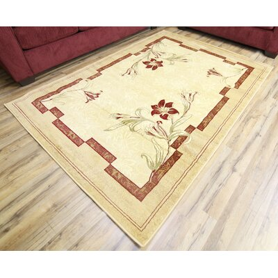 Elif/Passion Cream Area Rug Rug Size: 53 x 75