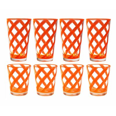 South Tangerang Stripes 8 Piece Plastic Every Day Glass Set Color: Neon Orange