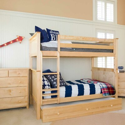 Bunk Bed with Trundle Storage Size: Full over Full, Finish: Natural