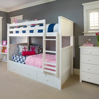 Bunk Bed with 3 Storage Drawer Size: Full over Full, Finish: White