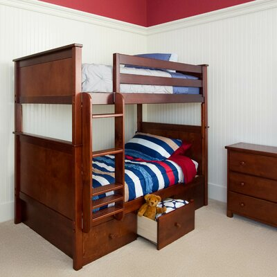 Bunk Bed with 3 Storage Drawer Size: Full over Full, Finish: Dark Cherry