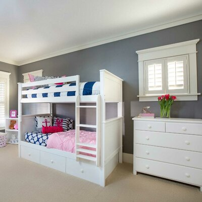Bunk Bed with Trundle Storage Size: Full over Full, Finish: White