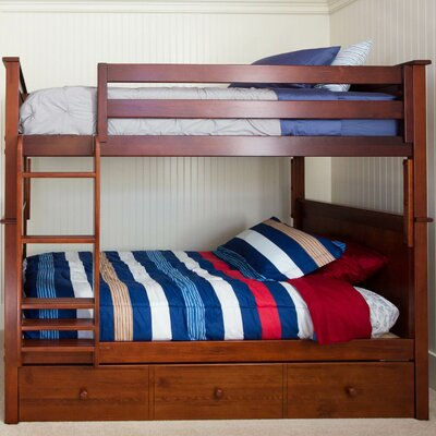 Bunk Bed with Trundle Storage Size: Full over Full, Finish: Dark Cherry
