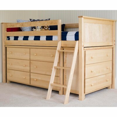 Twin Loft Bed with 2 Dresser Finish: Natural