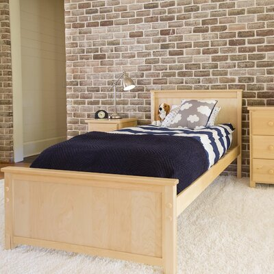 Panel Bed Size: Twin, Color: Natural